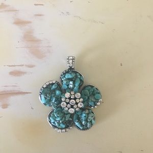 Turquoise and Silver Crystal Pendant